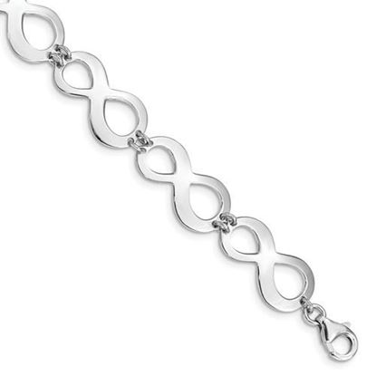 Picture of 7 inch Sterling Silver Rhodium-plated Infinity Bracelet with 1 inch extension
