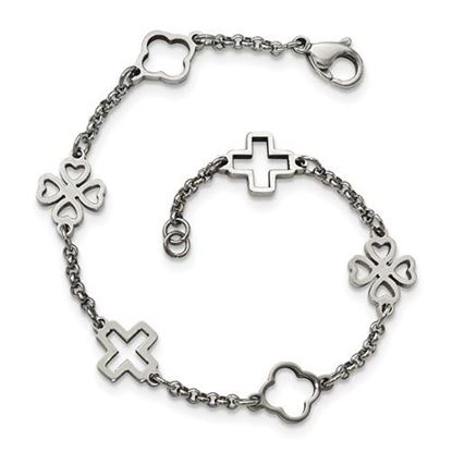 Picture of 7.5 inch Stainless Steel Cross and Clovers Bracelet