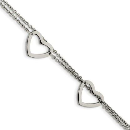Picture of 7.5 inch Stainless Steel Heart Bracelet