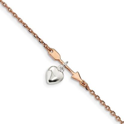 Picture of 7.5 inch Sterling Silver and Rose-tone Plated Arrow Heart Bracelet