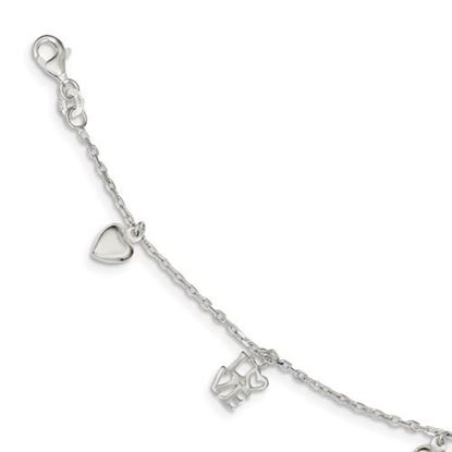 Picture of 7.5 inch Sterling Silver Heart and Love Charm Bracelet