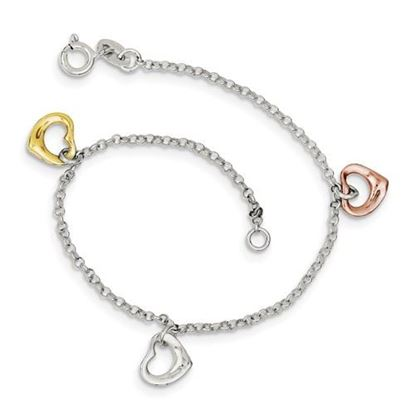 Picture of 7.5 inch Sterling Silver Polished and Flash Gold-plated Heart Bracelet