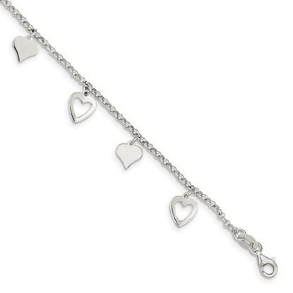 Picture of 7.5 inch Sterling Silver Polished Heart Bracelet