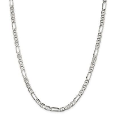 Picture of Sterling Silver 5.5mm Figaro Anchor Chain Necklace