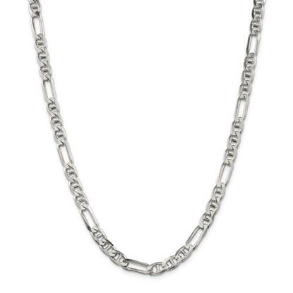 Picture of Sterling Silver 6.5mm Figaro Anchor Chain Necklace