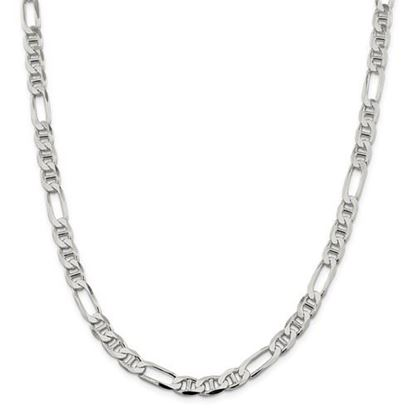 Picture of Sterling Silver 7.5mm Figaro Anchor Chain Necklace