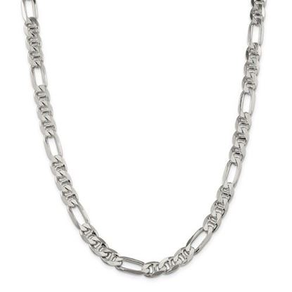 Picture of Sterling Silver 7.75mm Figaro Anchor Chain Necklace