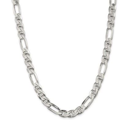 Picture of Sterling Silver 8.75mm Figaro Anchor Chain Necklace