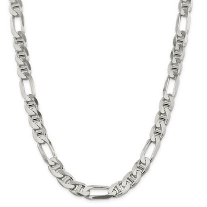 Picture of Sterling Silver 10.65mm Figaro Anchor Chain Necklace