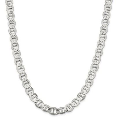 Picture of Sterling Silver 9.95mm Semi-Solid Flat Anchor Chain Necklace