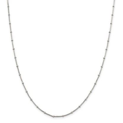 Picture of Sterling Silver 1.25mm Beaded Box Chain Necklace