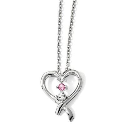 Picture of 16 inch 10k White Gold Survivor Pink Swarovski Topaz Heart of Resilience Necklace