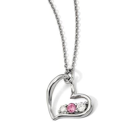 Picture of 16 inch 10k White Gold Survivor Clear and Pink Swarovski Topaz Heart of Strength Necklace