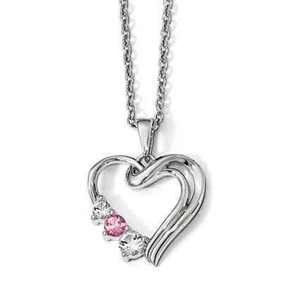 Picture of 16 inch 10k White Gold Survivor Clear and Pink Swarovski Topaz Heart of Healing Necklace