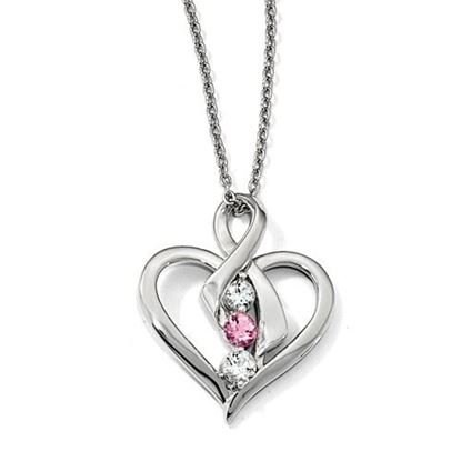 Picture of 16 inch 10k White Gold Survivor Clear and Pink Swarovski Topaz Heather Necklace with 2 inch extension
