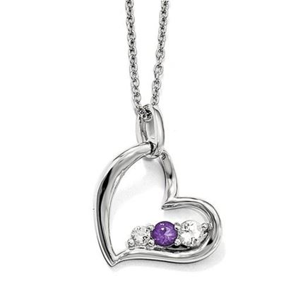 Picture of 16 inch 10k White Gold Survivor Clear and Purple Swarovski Topaz Heart of Strength Necklace