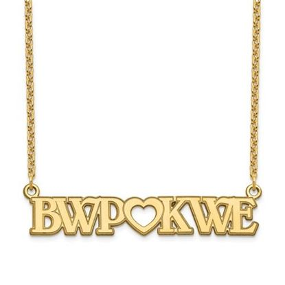 Picture of Personalized Gold-plated Couple's Monogram And Heart Plate Necklace