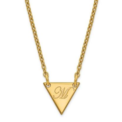 Picture of Personalized Gold-plated Tiny Triangle Script Initial Necklace