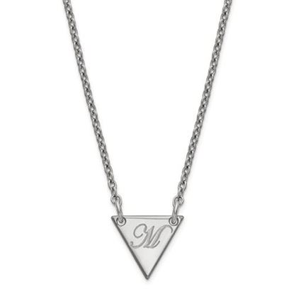 Picture of Personalized Sterling Silver Tiny Triangle Script Initial Necklace