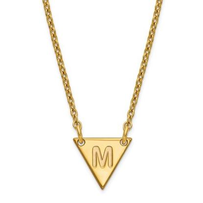 Picture of Personalized Gold-plated Tiny Triangle Block Initial Necklace