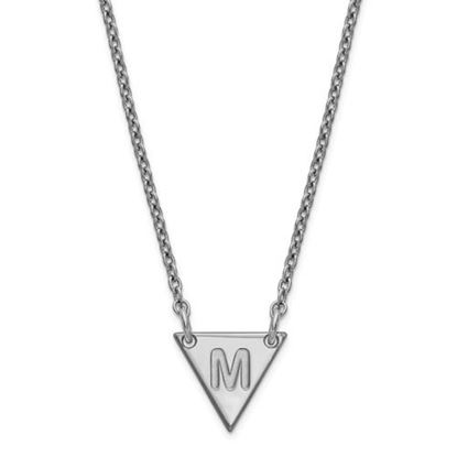 Picture of Personalized Sterling Silver Tiny Triangle Block Initial Necklace