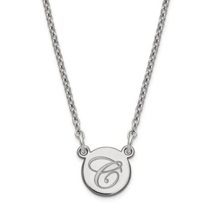 Picture of Personalized Sterling Silver Tiny Circle Script Initial Necklace