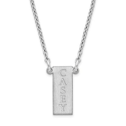 Picture of Personalized Sterling Silver Vertical Bar Necklace