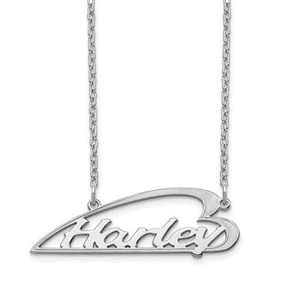 Picture of Personalized Sterling Silver Side Heart Small Nameplate Necklace
