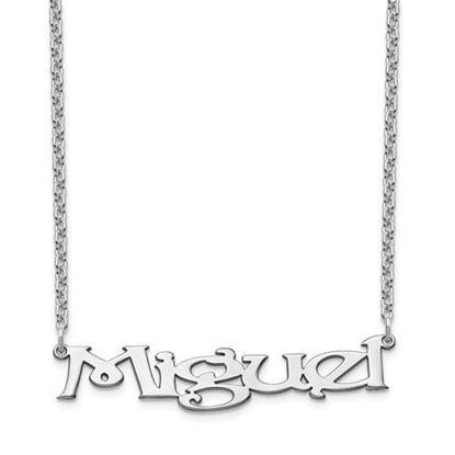 Picture of Personalized Sterling Silver Fancy Block Large Nameplate Necklace