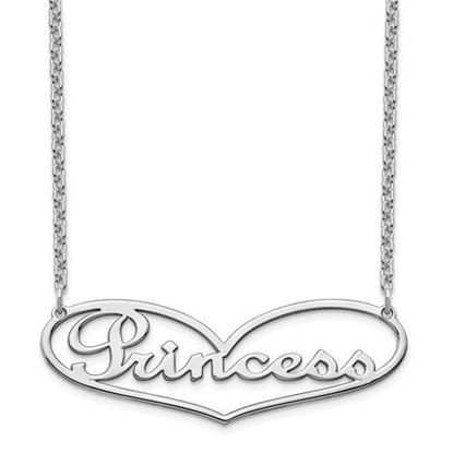 Picture of Personalized Sterling Silver Heart Large Nameplate Necklace