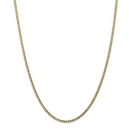 10k Yellow Gold2.5mm Semi-Solid Curb Link Chain Necklace