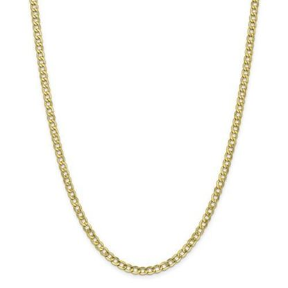 10k Yellow Gold 4.3mm Semi-Solid Curb Link Chain Necklace