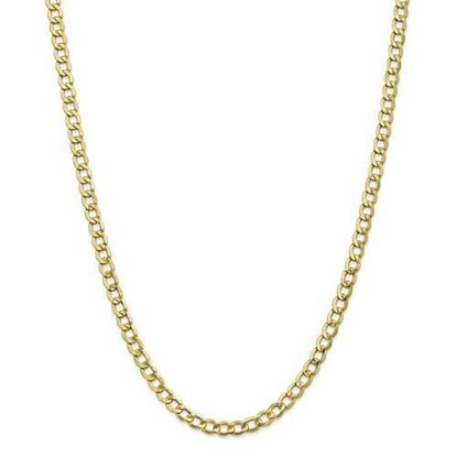 10k Yellow Gold 5.25mm Semi-Solid Curb Link Chain Necklace