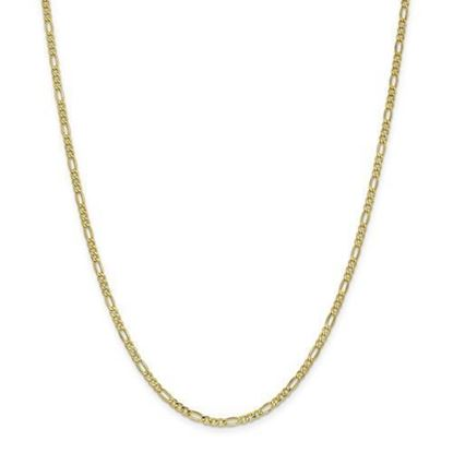 10k Yellow Gold2.5mm Semi-Solid Figaro Chain Necklace