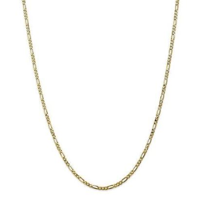 10k Yellow Gold 2.75mm Flat Figaro Chain Necklace