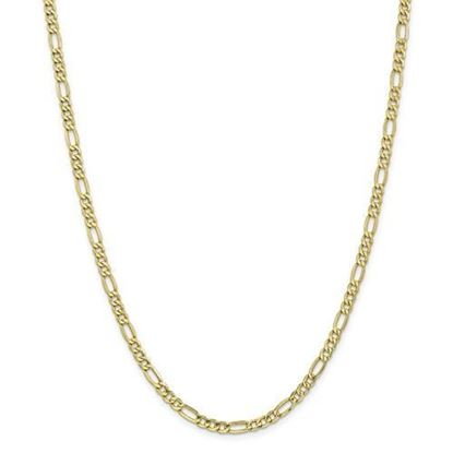 10k Yellow Gold 4.4mm Semi-Solid Figaro Chain Necklace