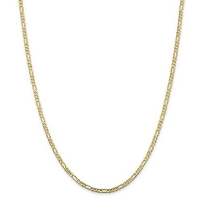 10k Yellow Gold 3.0mm Concave Figaro Chain Necklace