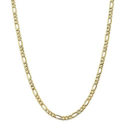 10k Yellow Gold 5.35mm Semi-Solid Figaro Chain Necklace