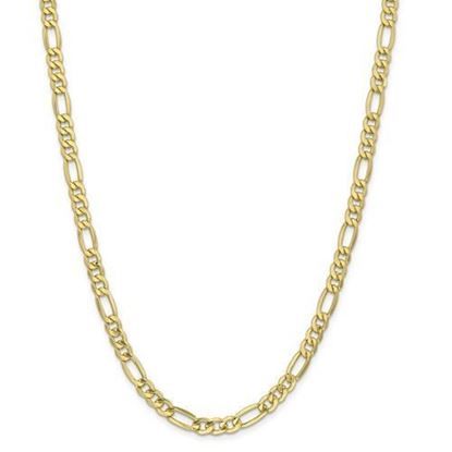 10k Yellow Gold 6.25mm Semi-Solid Figaro Chain Necklace