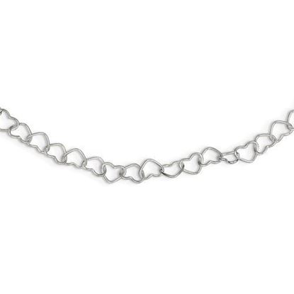 6 inch Sterling Silver Polished Fancy Heart Link Bracelet