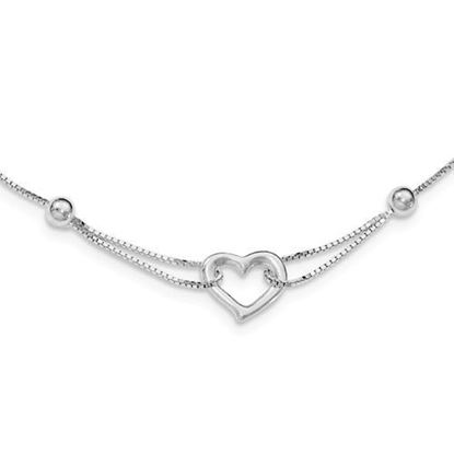 Sterling Silver Heart Box Chain Bracelet