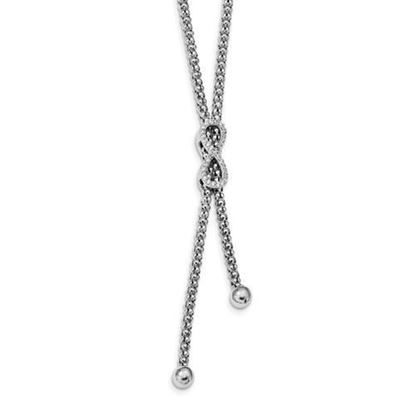 7.5 inch Sterling Silver Rhodium Plated CZ Double Strand Infinity Bracelet