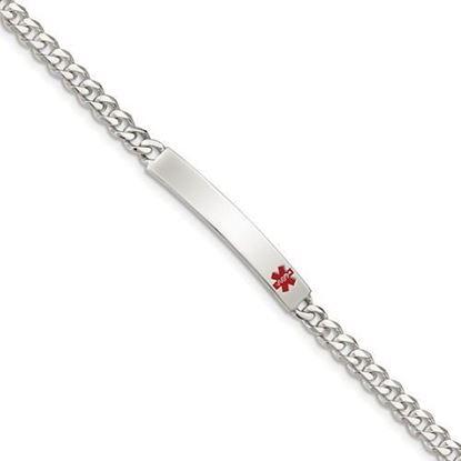 8.5 inch Sterling Silver Polished Curb Link Medical ID Bracelet