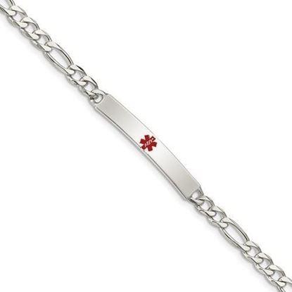 8.5 inch Sterling Silver Polished Figaro Anchor Link Medical ID Bracelet