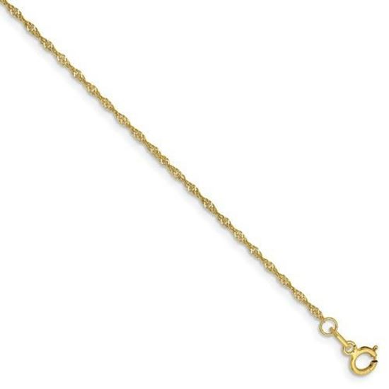 7 inch 10k Yellow Gold 1.10mm Singapore Chain Bracelet