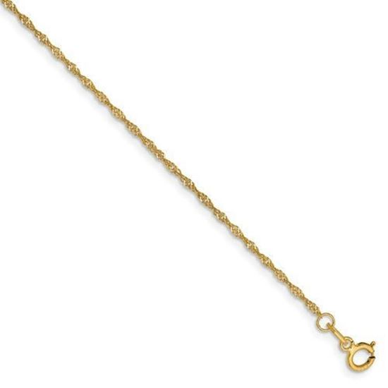 7 inch 14k Yellow Gold 1.10mm Singapore Chain Bracelet