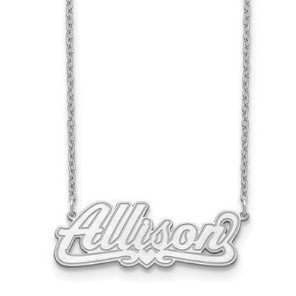 Personalized Sterling Silver Etched Nameplate Necklace
