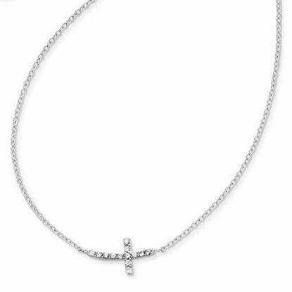 16 Inch Sterling Silver Sideways CZ Cross Necklace
