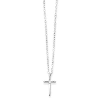 15 Inch 14k White Gold Madi K .01ct Diamond Cross Necklace
