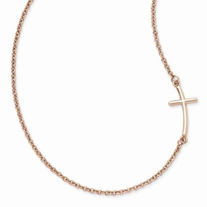 18 Inch Sterling Silver Rose Gold-plated Large Sideways Curved Cross Necklace